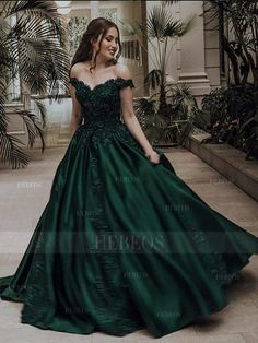 Ball Gown Off-the-Shoulder Sleeveless Floor-Length Lace Satin Dresses Dark Green Prom Dresses, Pretty Prom Dresses, Elegant Dresses, Beautiful Dresses, Green Wedding Dresses, Simple Prom Dress, Red Ball Gowns, Ball Gowns Prom, Ball Gown Dresses