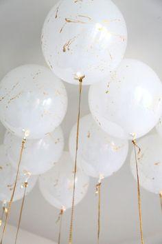 White paint splattered balloons!