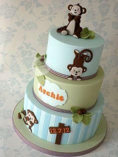 Monkey christening cake