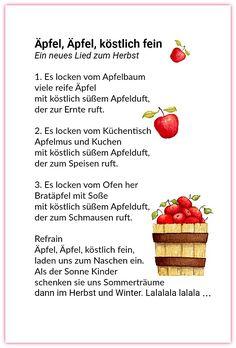 Elke Bräunling. Äpfel, Äpfel, köstlich fein. Ein neues Gedicht und Lied zum Herbst. Es locken vom Apfelbaum viele reife Äpfel 2. Es locken vom Küchentisch