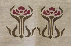 "Large Iris(A): Since this stencil is 8"" high, we usually use it as a double medallion, but it could also be a border on a large shade or curtain. It's in loden and dark red here, but as an iris could be any color!"