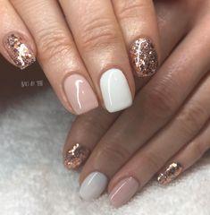 Gold gel nails, rose gold nails, shellac nails, white nails, luv na Glitter Gel Nails, Rose Gold Nails, Gelish Nails, White Gold Nails, Jamberry Nails, Gold Manicure, Rose Gold Gel Polish, Toe Nail Polish, White Shellac Nails