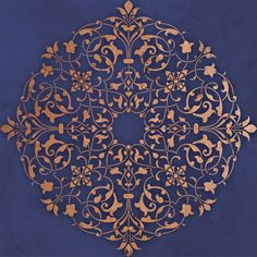 Accentuate a light fixture or decorate the ceiling above your dining table. This Arabesque Medallion Ceiling Stencils includes a half pattern to rotate. Use the Arabesque Ceiling Stencil Set for a ful Mandala Stencils, Stencil Patterns, Mandala Art, Mandala Painting, Moroccan Stencil, Moroccan Decor, Motif Oriental, Royal Design, Bar Design