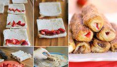Budeme potrebovať: 8 plátkov bieleho toustového chleba Makký smotanový syr , na kocky nakrájané jahody a Nutella 2 vajcia 3 Polievkové lyžice mlieka 1/3 šálky kryštálového cukru 1 vrchovatú čajovú lyžičku mletej škorice maslo na pomazanie panvicePostup: Zbavíme sa kôrky na touste a prejdeme po touste valčekom aby sa trochu zlisoval. Dáme nutellu (môžeme vyskúšať