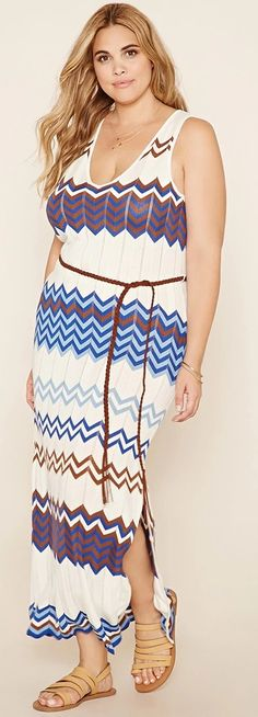 Plus Size Zigzag Maxi Dress