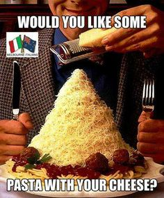 Would you like some pasta with your cheese? | hahaha cheese lover <3