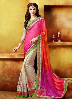 Febulous cream and pink georgette designer saree.  #6Yards #LatestSarees #Shades