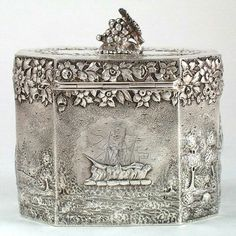 Peter Krider Sterling Repousse Tea Caddy with Scenic Decoration, Philadelphia, PA, c. 1870's. #SterlingSilverTeaService