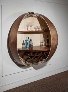 A Wall Mounted Bar Cabinet Inspired by a Spinning Coin Photo | #barcabinet #bar #homebar