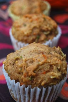 Zucchini Carrot Apple Muffins --My Heathier changes:    SubAlmond Meal for 2 c white whole wheat flour     1 medium zucchini      1 large handful of baby carrots (approx. 10-15)      1 medium apple, cored and quartered      2 eggs      1/3 c xylitol blendfor sugar   ¼ c honey      1 tsp vanilla      1/3 c unsweetened applesauce      2 Tbsp olive oil for the vegetable/canola oil      1 ½ tsp baking soda      1 tsp cinnamon      ½ tsp ground ginger;  ADDED 1 tbsp hemp seeds and 1 Tb chia seeds