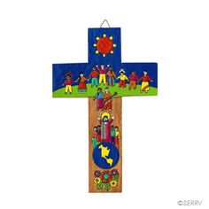 Gifts of Faith - Children of The World Cross La Palma style crosses are painted with folk art that is inspired by the natural surroundings and daily life of the artisans who create them. Pine wood. 7 3/4 in. l x 4 3/4 in. w (Made in El Salvador) $15