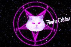 Ave Satanas - Satan Kitty Space Cat Print 8x10