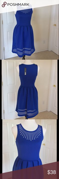 """Cobalt Blue Laser Cut Scuba Dress NWT Pockets❣ I love everything about this dress - gorgeous blue soft & stretchy scuba fabric; shaped bodice w/ gently pleated waistline; pretty laser cut neck & hemlines; pockets! Measurements: bust 33""""; waist 29""""; hip 43""""; length shoulder to hem 35"""". Has stretch! Fabric: 96% polyester, 4% spandex. Machine wash Condition: NWT Bundle discount  ⭐️5 star rated Suggested User Smoke free home I don't trade  Thank you for shopping with me. Please feel free to ask…"""