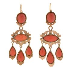 1850's Victorian Faceted Coral Gold Dramatic Day and Night Earrings | From a unique collection of vintage chandelier earrings at https://www.1stdibs.com/jewelry/earrings/chandelier-earrings/