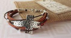 Brown Leather Cross Bracelet Hammered Metal by RemindMeDesigns Metal Bracelets, Handmade Bracelets, Cross Bracelets, Handmade Jewelry, Leather Jewelry, Beaded Jewelry, Leather Cuffs, Leather Accessories, I Love Jewelry