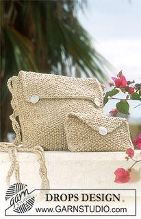 Bolsos DROPS en punto arroz en Bomull-Lin y Cotton-Viscose ~ DROPS Design