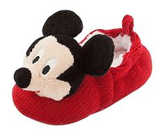 Disney Store Mickey Mouse Plush Slippers Shoes Size 18 - 24 Months 2T 2 years Crochet. Authentic Disney Store Product. Mickey Mouse plush head with satin bow, and inner bell. Knitted uppers and stretch ribbed top; Soft faux fur lining; Soft soles with non-slip dots. **Makes Rattle Noise When They Walk**. Size 18-24 Months.