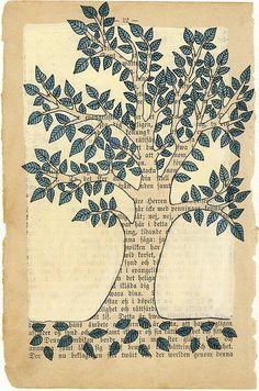 Tree with blue leaves - Tree with blue leaves Tree with blue leaves Old Book Crafts, Book Page Crafts, Book Page Art, Old Book Art, Tree Of Life Art, Newspaper Art, Madhubani Painting, Guache, Painted Books
