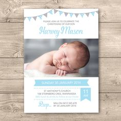 Photo Christening/Baptism invitation with bunting // I customise for you to print // Modern and clean design // blue and grey bunting by InkandCardDesigns on Etsy https://www.etsy.com/au/listing/260939019/photo-christeningbaptism-invitation-with