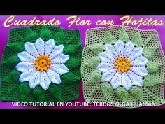 Muestra Cuadrada a crochet FLOR con Hojas en Relieves paso a paso para Colchas y cojines - YouTube