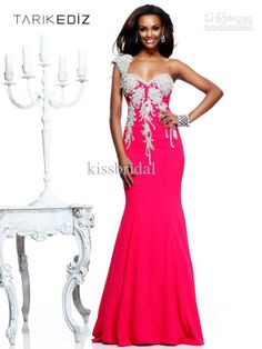 2013 Sexy Tarik Ediz One-Shoulder Mermaid Prom Gowns Sweetheart Tassel Floor-Length Satin Evevning Dresses 1010
