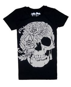 Black Punk Style T-shirt with Rose and Skull Print