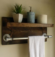 Industrial Rustic Modern Bathroom Shelf with Towel Bar - I have the shelf. I just need to put the towel bar on it! Industrial House, Rustic Industrial, Modern Rustic, Industrial Bathroom, Rustic Wood, Rustic Style, Rustic Cafe, Rustic Restaurant, Rustic Desk
