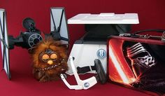 """Gift ideas include The Force Trainer II: Hologram Experience, """"The Force Awakens"""" Tin Tote, First Order Special Forces T. Fighter and Furbacca. Gift Hampers, Special Forces, For Stars, Coupon Codes, Gift Guide, Star Wars, Coding, Fan, Hologram"""