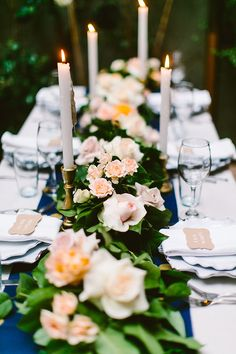 pastel rose centerpieces - photo by Redfield Photography http://ruffledblog.com/intimate-garden-restaurant-wedding