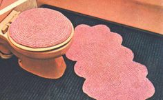 Scalloped Bathroom Set Vintage Crochet Pattern for download - bath mat, seat cover