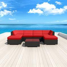 Luxxella Patio Mallina Outdoor Wicker Furniture 7-Piece All Weather Couch Sofa Set