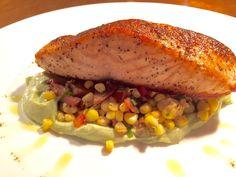 Roasted fresh salmon with a medley of corn & veggies. Yumm