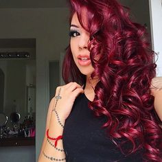 We're all about ash hues in the summer but this burgundy hair trend is definitely making a comeback this winter. Here are some fab burgundy hair ideas! Red Hair Images, Wine Hair, Curly Hair Styles, Natural Hair Styles, Burgundy Hair, Magenta Red Hair, Red Velvet Hair Color, Deep Red Hair Color, Color Black