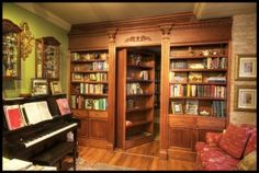 """Harry Potter"" bookcase.  Hidden bookcase door entrance to secret room.  Could do bookcase as closet door entrance too."