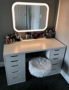Vanity Mirror With Desk Amp Lights Home Remedy Diy Diy