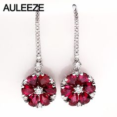 b6c6865099c1 AULEEZE Gorgeous 2.65cttw Natural Ruby 18K White Gold Earrings Real Diamond  Engagement Wedding Drop Earrings