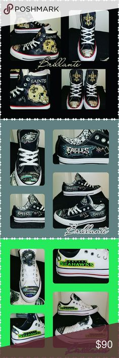 NFL Bling Converse Show your true fan spirit with some custom swarovski embellished converse.  Available in hightop or low, sizes 5-9 in womens ( sorry no half sizes).  Any NFL, MLB, NBA team you want just let me know!!  Since these are custom, made to order please allow 7-10 days for processing.  I am happy to answer any questions you may have & all suggestions/requests are welcome!! Converse Shoes Sneakers