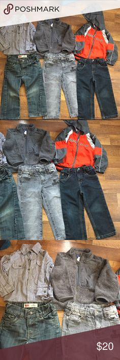 3 2T boys Outfits 💕 Great condition 💋 3 pairs of 2T jeans 💋1 button down dress shirt 🏈 1 fleece zip up and 1 windbreaker jacket 💕 Levi's Matching Sets
