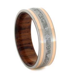 METEORITE RING WITH 14K ROSE GOLD AND WOOD SLEEVE