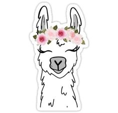 """""""Floral Crown Llama"""" Stickers by ktscanvases Tumblr Stickers, Phone Stickers, Cool Stickers, Printable Stickers, Planner Stickers, Cute Laptop Stickers, Snapchat Stickers, Red Bubble Stickers, Diy Phone Case"""