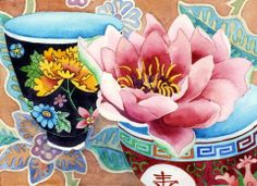Waterlily & teacup: Gabby Malpas watercolour