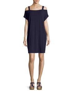 Cold-Shoulder Jersey Shift Dress