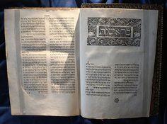 Soncino - Yeosh 'a ben yisra 'el natan -  Bibbia in ebraico - 1488 - la prima edizione completa in ebraico - Biblioteca Medicea Laurenziana - Firenze