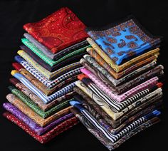RC Polka Dot Floral Anchor Handkerchief 100% Natural Silk Satin Mens Hanky Fashion Classic Wedding Party Pocket Square