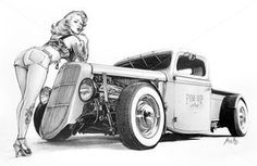 "madmacart: "" ""Hot Rod Pin Up"" - Pencil on paper - cm 40x30 (pinupart.it) """