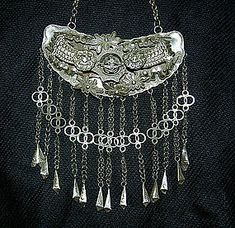 Chinese Miao Ethnic Minority silver foo dog necklace