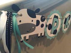 Banner de cumpleaños de la vaca la leche y galletas por TookiesLLC