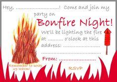 Bonfire Night Invitation