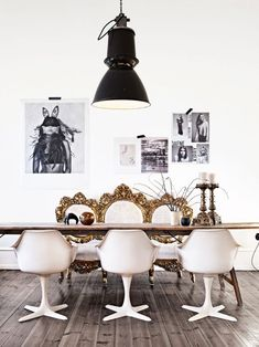dining room, black, white, rustic, & gold.