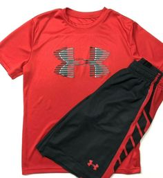d478e9fc691c Boys UNDER ARMOUR Heatgear Red Black Shorts Shirt Summer Outfit Size Youth M   Underarmour